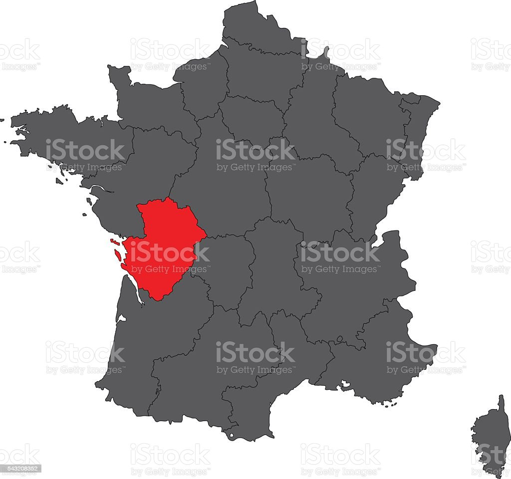 Poitou France Map.Poitoucharentes Red Map On Gray France Map Vector Stock Vector Art