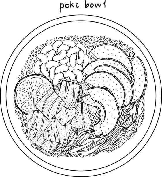 ポケボウル。アジア料理イラスト。黒と白の現実的なスケッチ。サーモン、アボカド、ライスベクトルアートワーク - ポキ点のイラスト素材/クリップアート素材/マンガ素材/アイコン素材