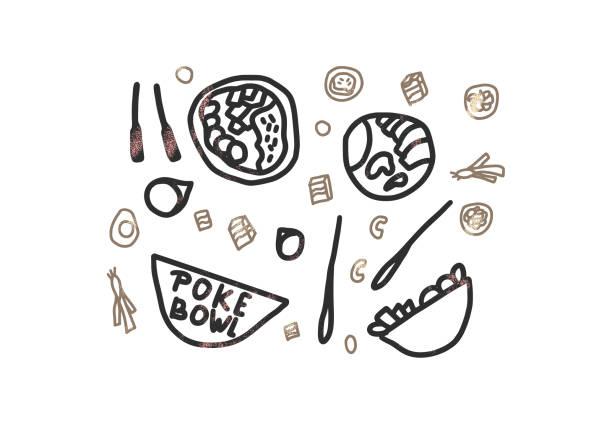 ポークボウルコンセプト。ベクターデザインのイラスト。 - ポキ点のイラスト素材/クリップアート素材/マンガ素材/アイコン素材