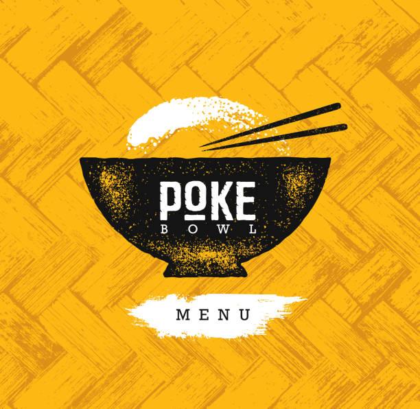 ボウル ハワイ料理レストラン ベクター デザイン要素を突きます。健康食品メニュー創造的な大まかな有機背景のイラスト - ポキ点のイラスト素材/クリップアート素材/マンガ素材/アイコン素材