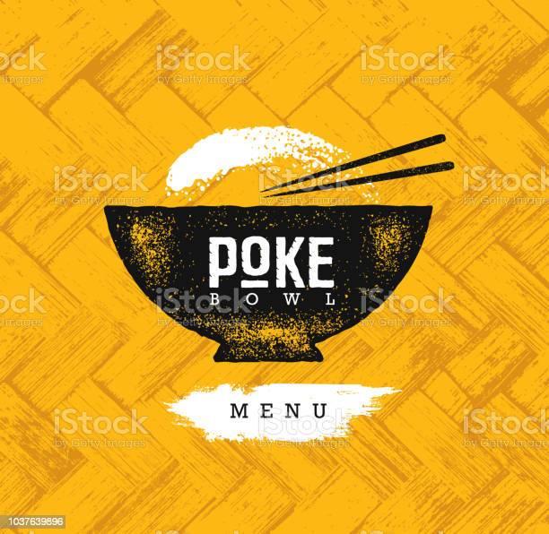 ボウル ハワイ料理レストラン ベクター デザイン要素を突きます健康食品メニュー創造的な大まかな有機背景のイラスト - イラストレーションのベクターアート素材や画像を多数ご用意