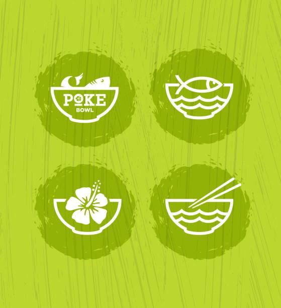 ボウル ハワイ料理レストラン ベクター デザイン要素を突きます。 - ポキ点のイラスト素材/クリップアート素材/マンガ素材/アイコン素材