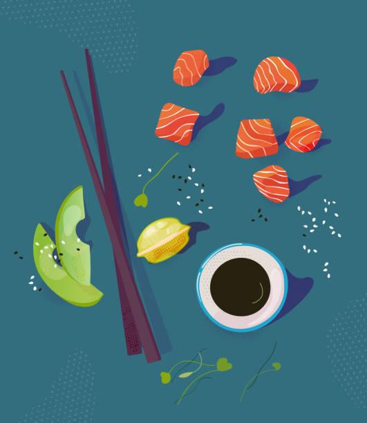 ボウル成分ベクトル図を突きます。健康食品 - ポキ点のイラスト素材/クリップアート素材/マンガ素材/アイコン素材