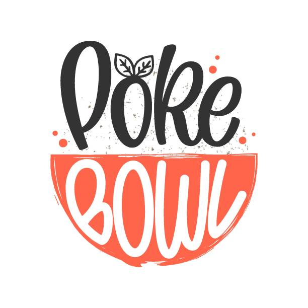 Poke Bowl logo. Vector illustration of Hawaiian cuisine dish with hand drawn lettering typography and plate. Design template for seafood restaurant and beach bar menu. Healthy super food trend Poke Bowl logo. Vector illustration of Hawaiian cuisine dish with hand drawn lettering typography and plate. Design template for seafood restaurant and beach bar menu. Healthy super food trend avocado drawings stock illustrations
