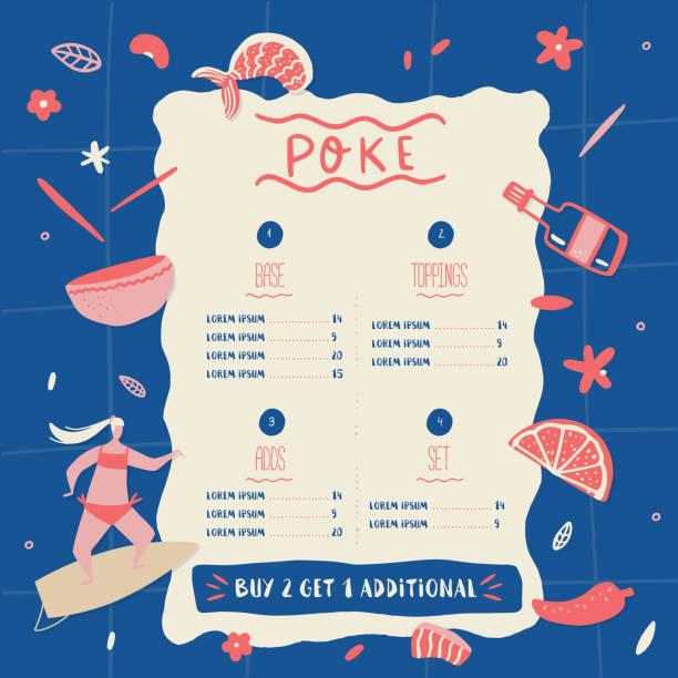 ポケボウルレストランのメニューデザイン。カラフルな漫画のカフェテンプレート、健康なハワイの栄養、サーフィンの女の子と魚のバナー - ポキ点のイラスト素材/クリップアート素材/マンガ素材/アイコン素材