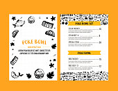 Poke bowl restaurant menu design. Colorful grunge cafe template, healthy hawaiian nutrition, fish banner.