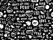 Poke seamless pattern, restaurant menu design. Colorful grunge cafe template, healthy hawaiian nutrition, fish banner.