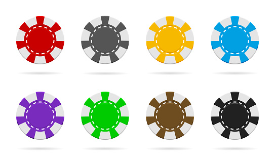 Poker and casino chip. Gamble logo. Icon of token for poker. Blackjack coin. Macau icon. Equipment of top gambling. Graphic for bet of roulette. Entertainment in vegas. Chips in front view. Vector