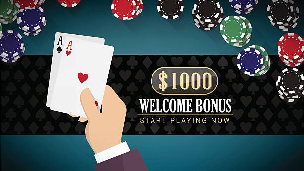Poker banner with aces Poker online banner with hand holding two aces and chips all around cartable stock illustrations