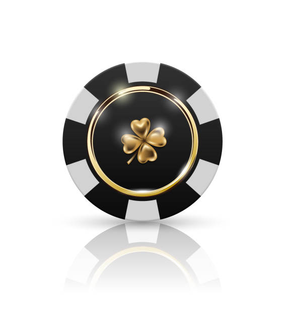 VIP poker black and white chip with golden ring and light effect vector. Black jack poker club casino four-leaf clover emblem isolated on white background with reflect. Casino chip icon gambling chip stock illustrations