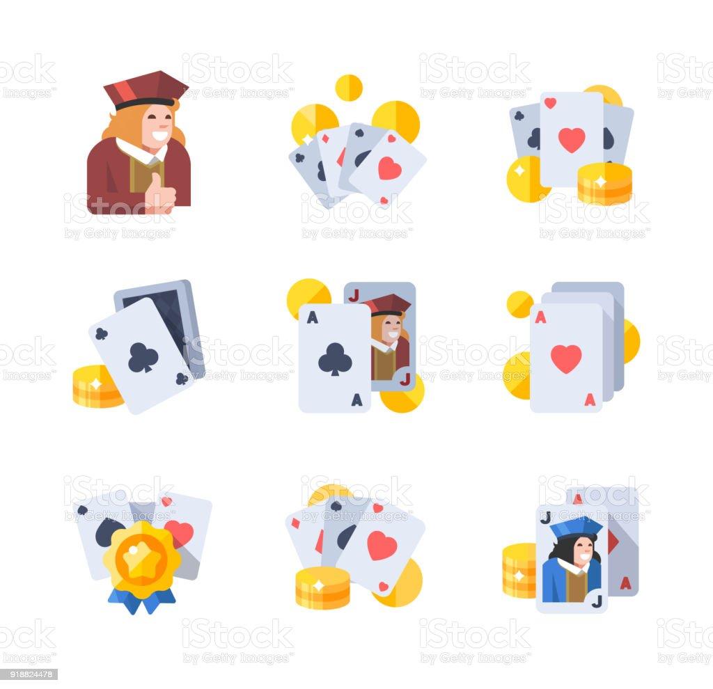 Poker, Black Jack or baccarat icons set vector art illustration