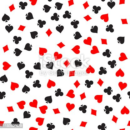 istock Poker card suit seamless pattern background. Black spades and clubs. Red hearts and diamonds singns. Abstract vector backround 1132503575