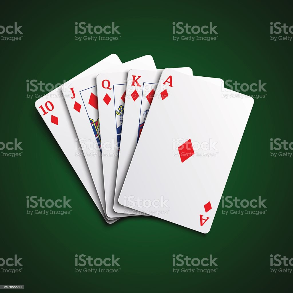 Poker cards flush diamonds hand vector art illustration