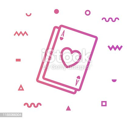 Poker cards outline style icon design with decorations and gradient color. Line vector icon illustration for modern infographics, mobile designs and web banners.