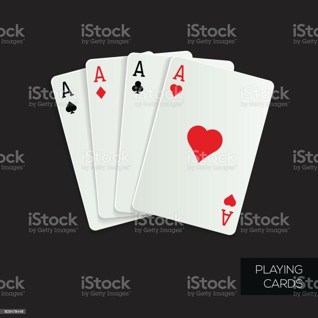 Cartas de poker em fundo escuro - ilustração de arte em vetor