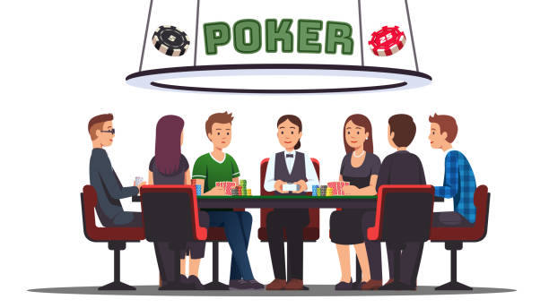 Poker cards tournament. Six professional poker players and dealer playing sitting at big round table. Holding cards, making bets with money chips, gambling. Flat vector illustration Poker cards tournament. Six professional poker players and dealer playing sitting at big round table. Holding cards, making bets with money chips, gambling. Flat style vector character isolated illustration cartable stock illustrations