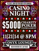 Poker Charity Tournament Poster on Red Background