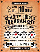 Poker Charity Tournament Poster on Grunge Background
