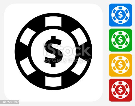Poker Chip Icon. This 100% royalty free vector illustration features the main icon pictured in black inside a white square. The alternative color options in blue, green, yellow and red are on the right of the icon and are arranged in a vertical column.