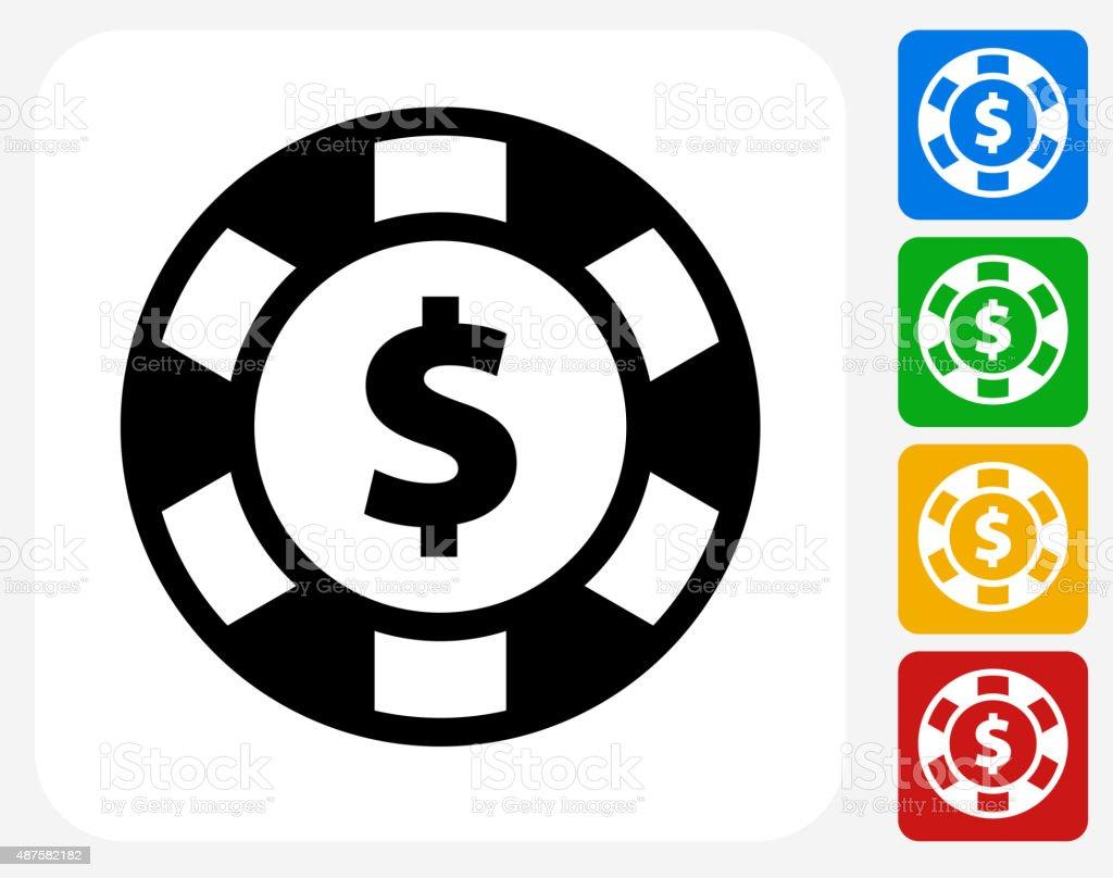 Poker Chip Icon Flat Graphic Design vector art illustration