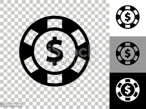 istock Poker Chip Icon on Checkerboard Transparent Background 1225148139