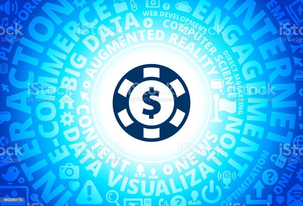 Poker Chip Icon on Internet Modern Technology Words Background vector art illustration