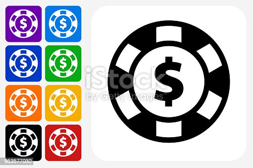 Poker Chip Icon Square Button Set. The icon is in black on a white square with rounded corners. The are eight alternative button options on the left in purple, blue, navy, green, orange, yellow, black and red colors. The icon is in white against these vibrant backgrounds. The illustration is flat and will work well both online and in print.