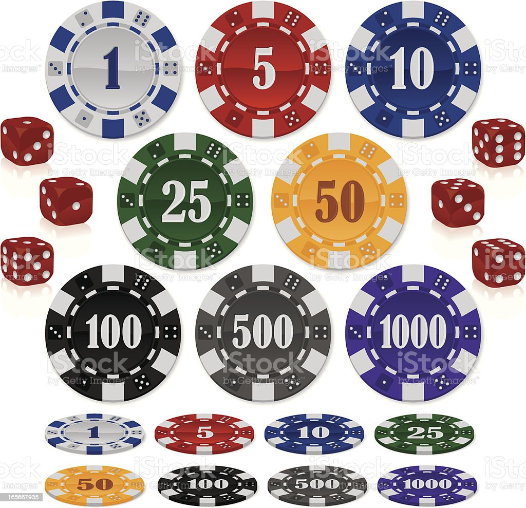 Poker Chips and Dice vector art illustration