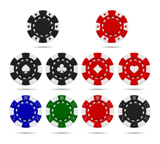 Poker chips set isolated on white background Poker chips set isolated on white background. Vector illustration gambling chip stock illustrations
