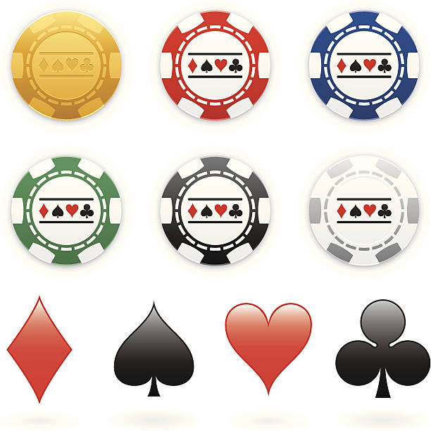 Poker chips Six various coloured poker chips with four suits on them. Global colours are easily modified. gambling chip stock illustrations