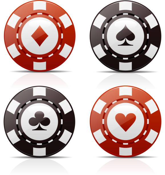 Poker Chips Four poker chips with card suit signs for diamonds,aces, clubs and hearts vector illustration. gambling chip stock illustrations