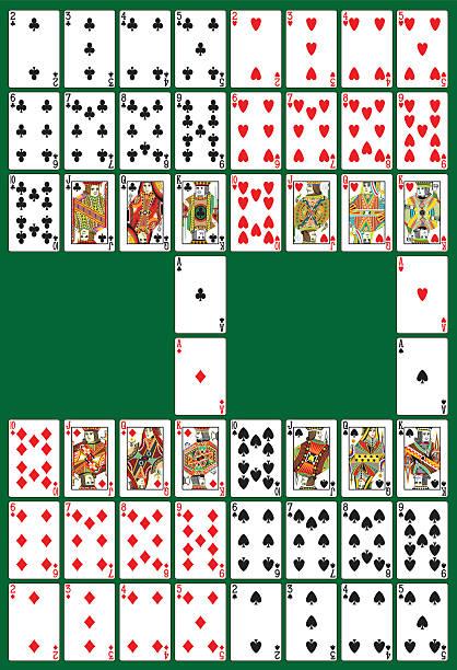 poker mit deck - kartenspielen stock-grafiken, -clipart, -cartoons und -symbole
