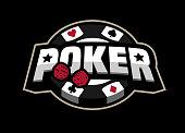 Poker game, logo emblem on a dark background.