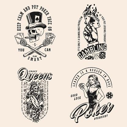 Poker game vintage monochrome labels