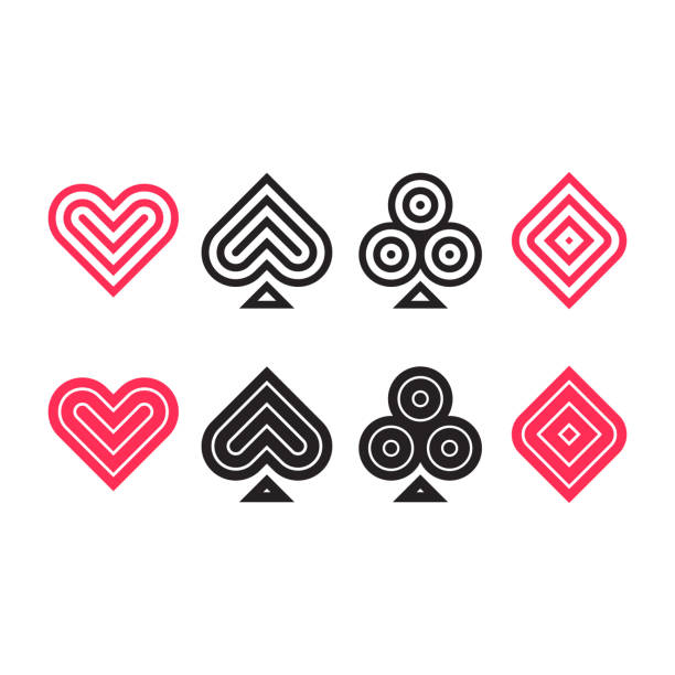 illustrazioni stock, clip art, cartoni animati e icone di tendenza di poker icon set - las vegas