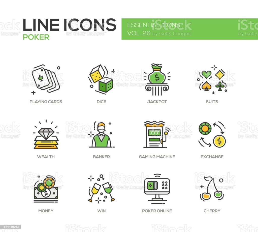 Poker - line design icons set vector art illustration