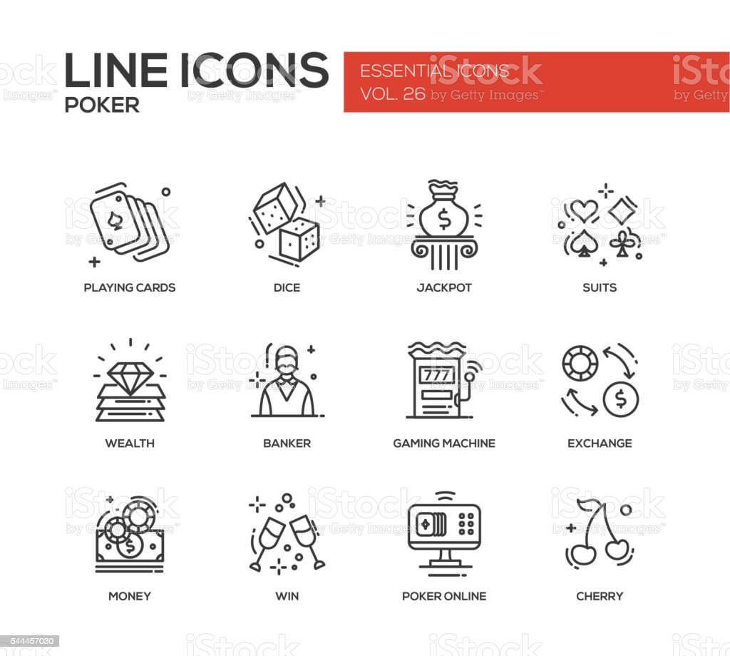 Poker - line design icons set vector art illustration