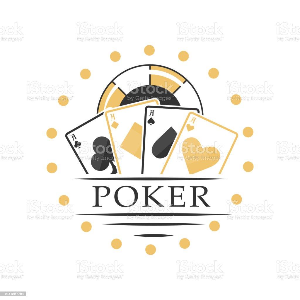 Poker-Logo, schwarz-goldenen Emblem für Glücksspiel Club, Casino, Meisterschaft Vektor-Illustration isoliert auf weißem Hintergrund – Vektorgrafik
