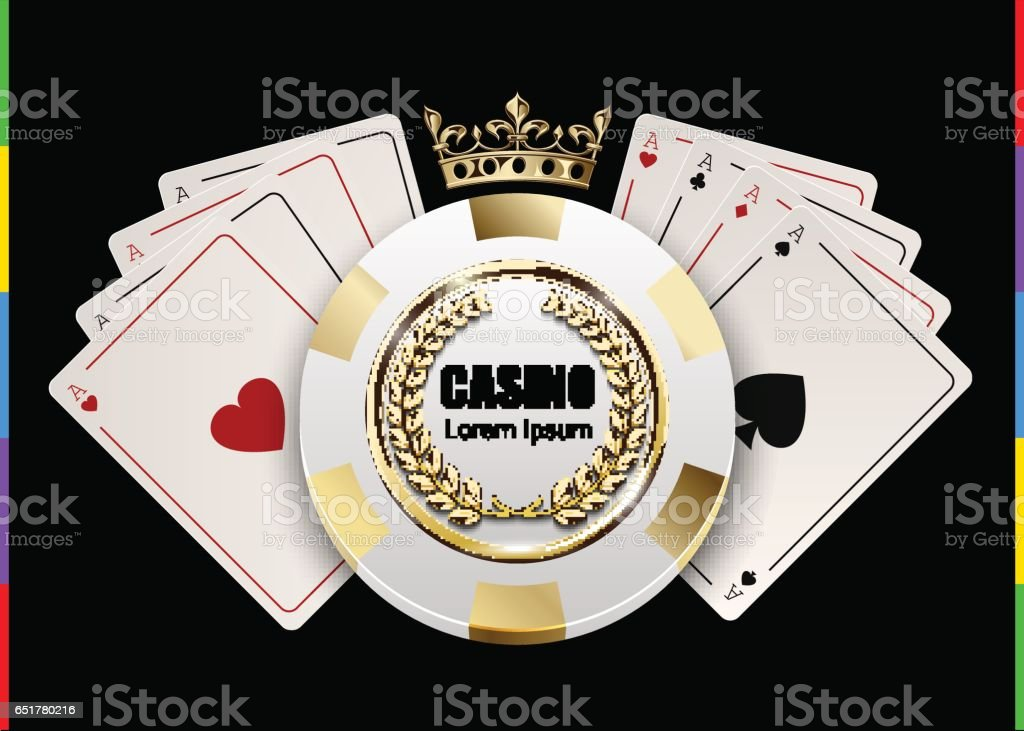 VIP poker luxury white and golden chip in golden crown with ace card vector casino logo concept. Royal poker club emblem with laurel wreath isolated on black background vector art illustration