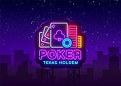 Poker neon sign design vector template. Casino Poker Texas Holdem Night Logo, Bright Neon Signboard, Design Element for Casino, Gambling Neon, Bright Night Advertising. Vector. Billboard