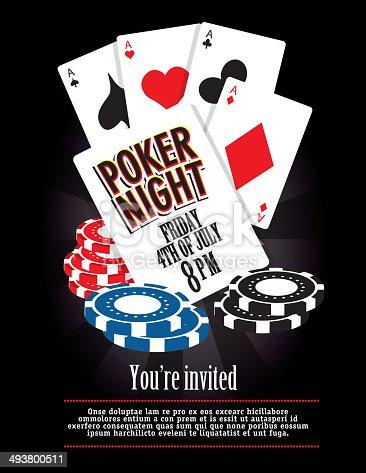 Poker Night Card Party Casino Game Night Invitation Design Template ...