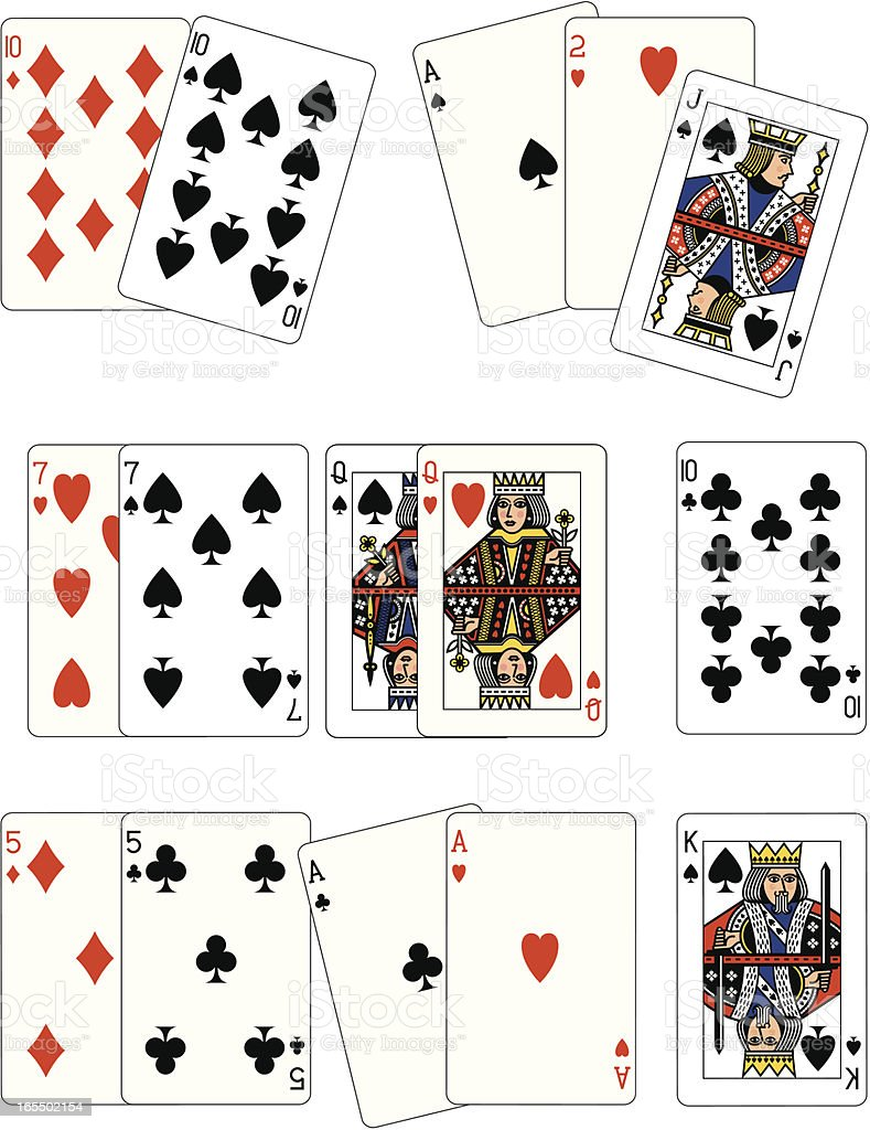 Poker One and Two Pairs playing cards vector art illustration
