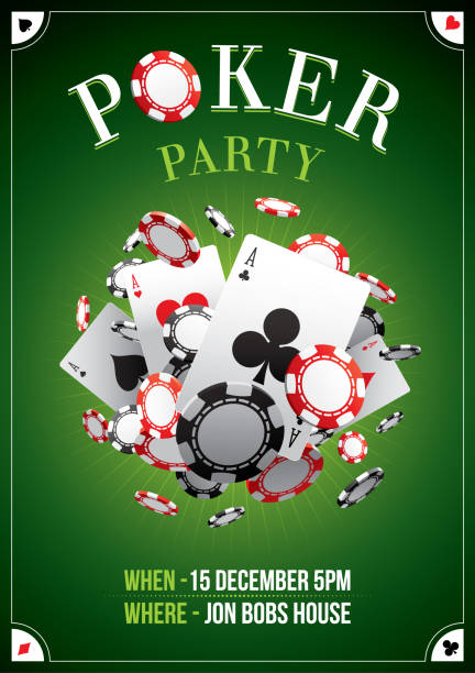 Poker party poster Poster for a poker night party poker stock illustrations