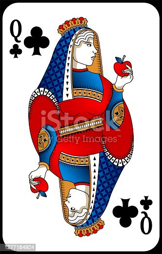 istock Poker playing card queen club. New design of playing cards. 1277184924