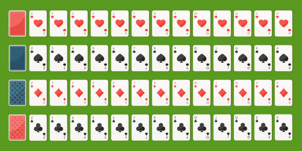 poker spielkarten, volldeck - holzdeck stock-grafiken, -clipart, -cartoons und -symbole