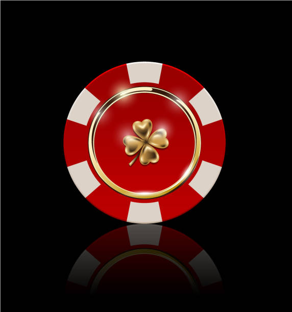 VIP poker red and white chip with golden ring and light effect vector. Black jack poker club casino four-leaf clover emblem isolated on black background VIP poker red and white chip with golden ring and light effect vector gambling chip stock illustrations
