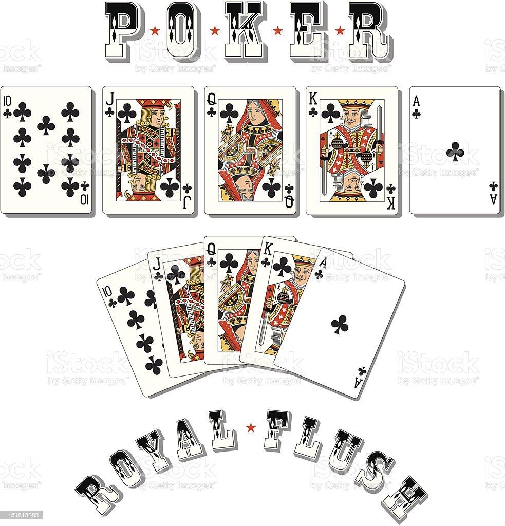 Poker Royal Flush Clubs vector art illustration