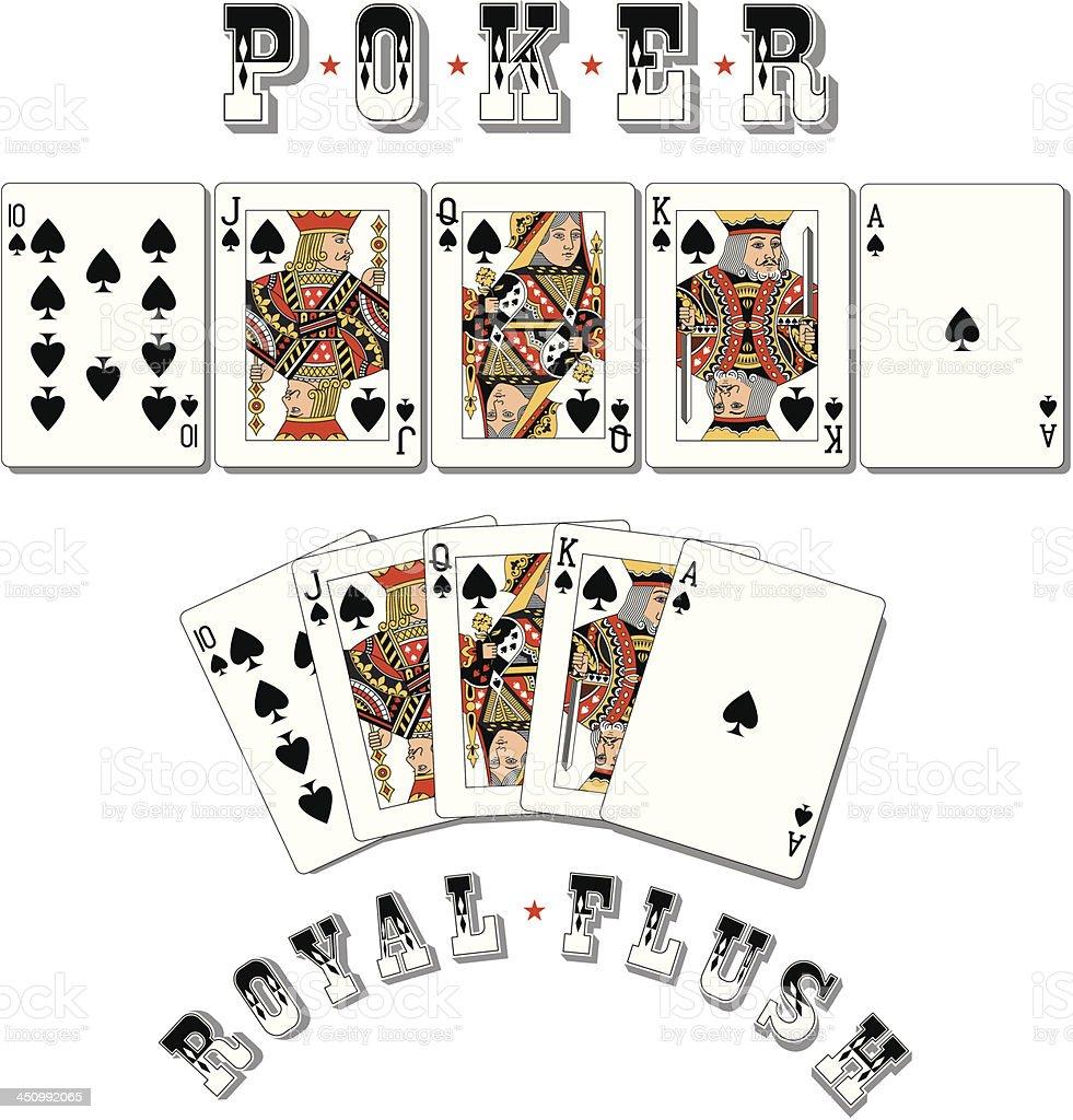 Poker Royal Flush Spades vector art illustration