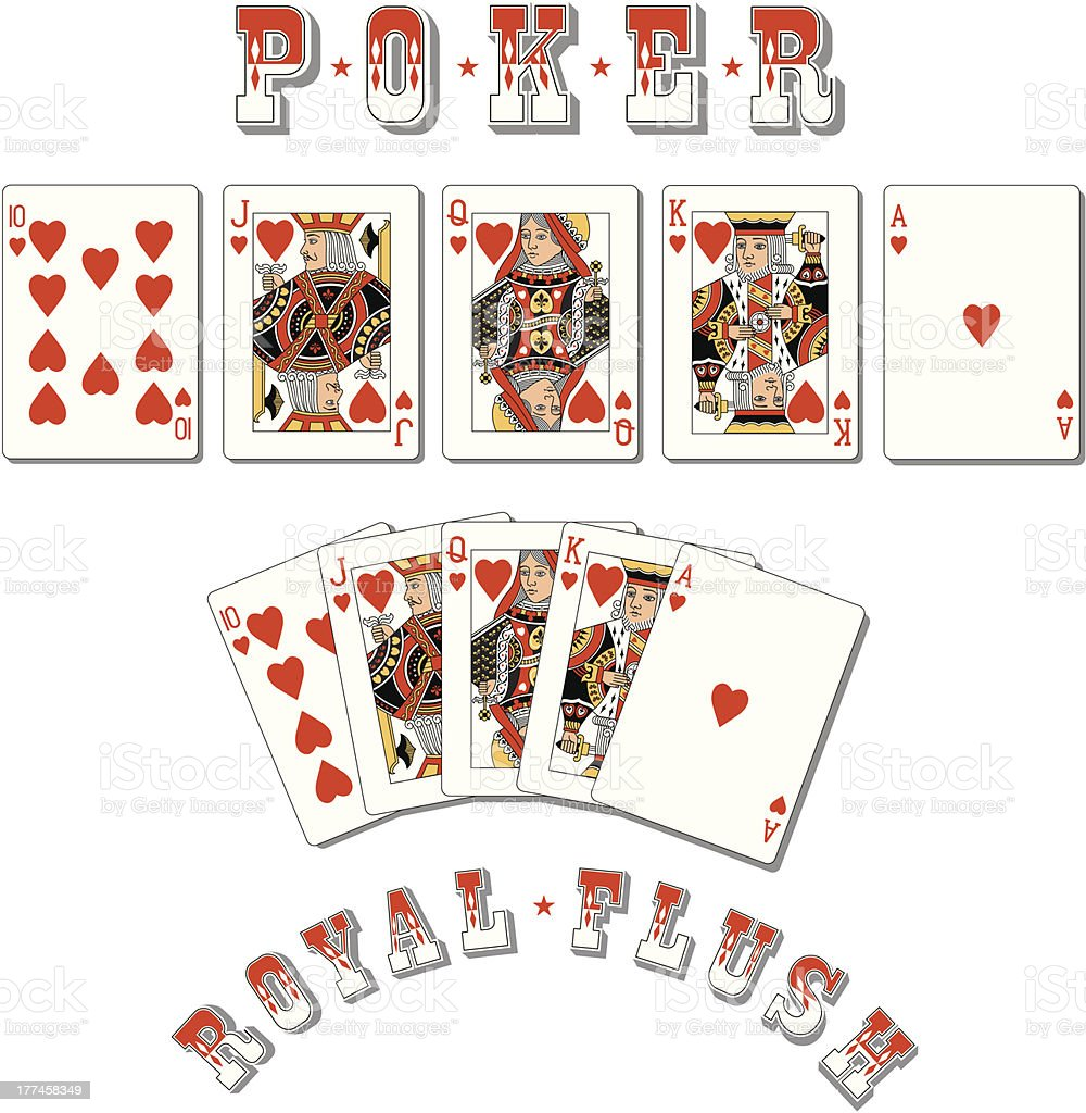 Poker Royal Flush vector art illustration