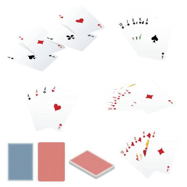 poker set mit isolierten karten isoliert auf weißem hintergrund - holzdeck stock-grafiken, -clipart, -cartoons und -symbole